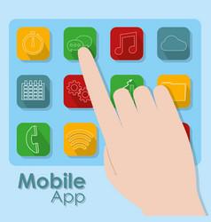 mobile application symbols vector image