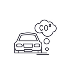 motor vehicle pollution line icon concept motor vector image