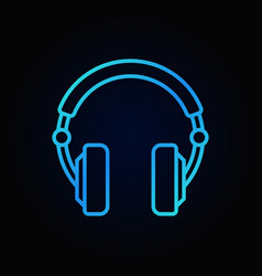 Over-ear headphones blue icon in thin line vector