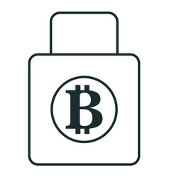 Padlock with bitcoin symbol vector