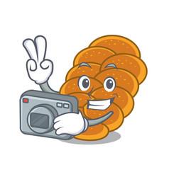 Photographer challah mascot cartoon style vector
