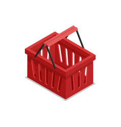 Plastic red shopping basket isometric 3d icon vector