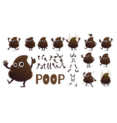 Poop cartoon character creation set with different vector