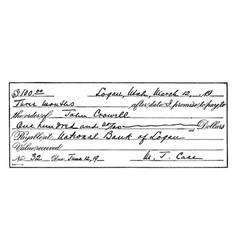 Promissory note vintage vector