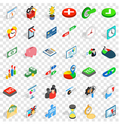 Puzzle icons set isometric style vector