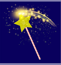 realistic magic wand with starry lights vector image