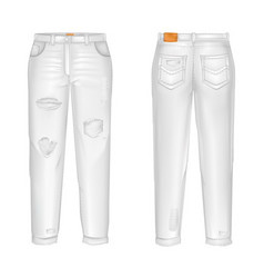 realistic white jeans with rips gaps vector image
