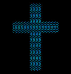 religious cross composition icon of halftone vector image