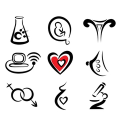 reproduction set of medical icons vector image