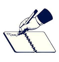 Retro writing hand vector image