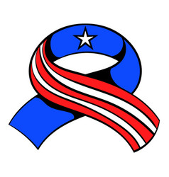 ribbon in usa flag colors icon cartoon vector image