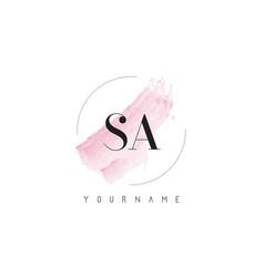 Sa s a watercolor letter logo design vector