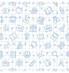 School Seamless Pattern on the Squared Sheet vector image