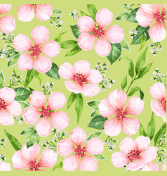 seamless pattern with blossoming apple tree vector image
