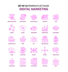 set of 25 feminish digital marketing flat color vector image