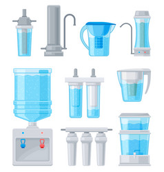 Set of flat with water filter vector