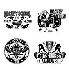 set of hockey emblems labels badges vector image