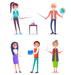 set of isolated teachers characters image vector image