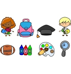 Set of school icons vector