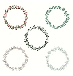 Set of wreath hand drawn vector image