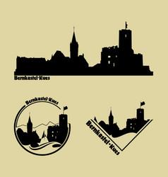 set silhouette logos city bernkastel vector image