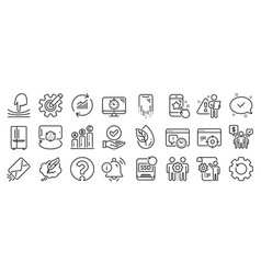 set technology icons such as graph chart seo vector image