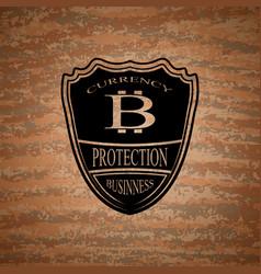Shield bitcoin emblem vector