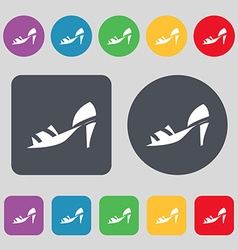 Shoe icon sign A set of 12 colored buttons Flat vector image
