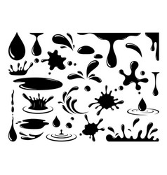 silhouette black oil drop icons set vector image