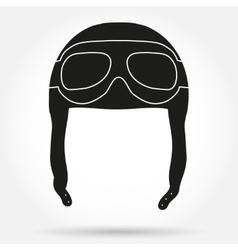 Silhouette symbol ofRetro aviator pilot helmet vector image
