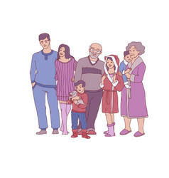 sketch big family character hugging at home vector image