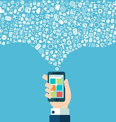 Smart phone apps and cloud technology vector