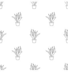 Snake plant outline seamless on white background vector