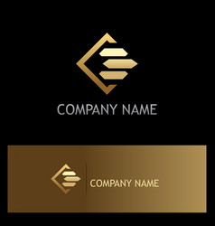 Square line gold business finance logo vector