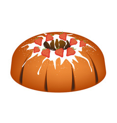 Strawberry bundt cake with sugar glaze vector