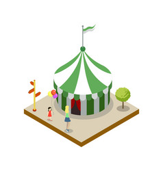 Striped circus tent isometric 3d element vector