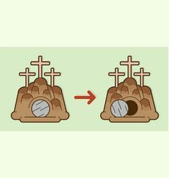 Tomb of jesus stone cave graphic vector
