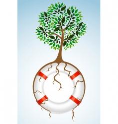 tree with lifebuoy vector image