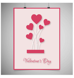 valentines day greetings card with pink border vector image