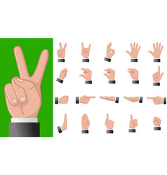 various gestures human hands isolated on a vector image