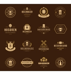 Vintage Beer Logos Set design elements vector image