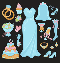 wedding traditional attributes in light blue vector image