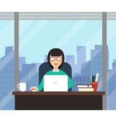 Woman with laptop in office room with big window vector