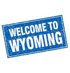Wyoming blue square grunge welcome to stamp vector