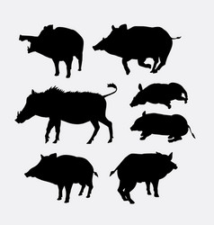 Boar animal action silhouette vector