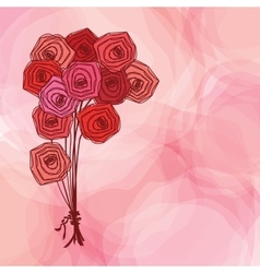 Bouquet of red roses on pink abstract background vector image