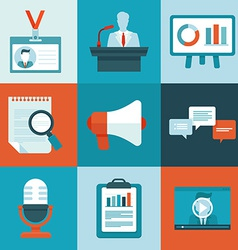 conference icons in flat style vector image vector image