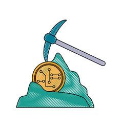 mining bitcoins symbol vector image