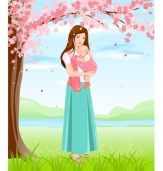 Mom holding baby in sling Young mother under vector image vector image
