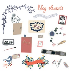 Blog elements set for the retro design vector image vector image